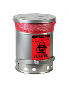Biohazard Waste Can,6 Gallon,Foot-Operated Self-Closing SoundGard™ Cover.