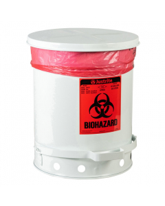 Biohazard Waste Can, 10 Gallon, Foot-Operated Self-Closing Cover, White