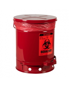 Biohazard Waste Can, 10 gallon, Foot-Operated Self-Closing Cover, Red - #05930R
