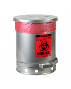 Biohazard Waste Can, 10 Gallon, Foot-Operated Self-Closing SoundGard™ Cover, Silver