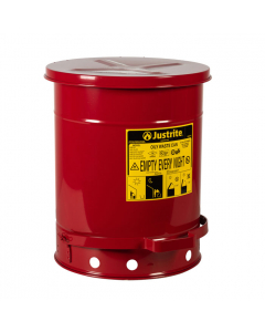 Oily Waste Can, 10 gallon, foot-operated self-closing SoundGard™ cover, Red