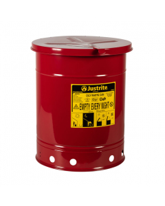 Oily Waste Can, 10 gallon, hand-operated cover, Red