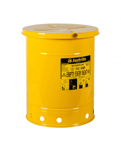 Oily Waste Can, 10 gallon, hand-operated cover, Yellow