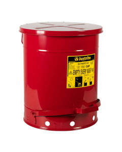 Oily Waste Can, 14 gallon, foot-operated self-closing cover, Red