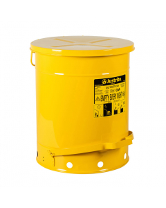 Oily Waste Can, 14 gallon, foot-operated self-closing cover, Yellow