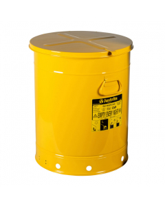 Oily Waste Can, 21 gallon, hand-operated cover, Yellow