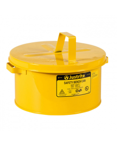 Bench Can to Clean Small Parts in Solvents, 2 Gallon, Steel, Yellow - #10578