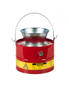 3 Gallon Steel Drain Can, Plated Steel Funnel, Red - 10903