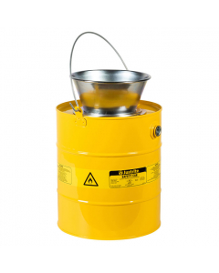 5 Gallon Steel Drain Can, Plated Steel Funnel, Yellow - 10906
