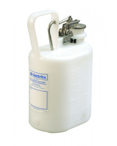 Oval Polyethylene Safety Container for corrosives/acids, stainless steel hardware, 1 gallon, White - #12161
