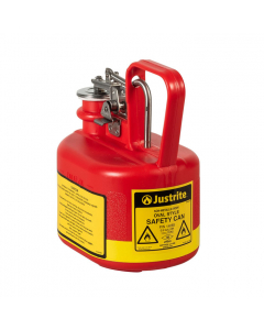 0.5 Gallon Plastic Safety Can for Flammables, Oval, Stainless Steel Hardware, Flame Arrester, Red - 14065