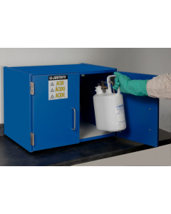 Holds Six 2.5-Liter Bottles, 2 Doors, Manual Close, Wood Laminate Corrosives Safety Cabinet, Countertop, Blue - 24120