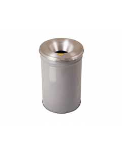 Cease-Fire® Waste Receptacle, Safety Drum Can With Aluminum Head, 12 gallon, Gray - #26612G