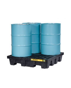 EcoPolyBlend Spill Control Pallet, 4 drum square, recycled polyethylene, Black - #28635