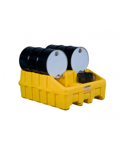 Drum Management Base Module, dispensing well, forklift channels, recycled polyethylene, Yellow - #28666