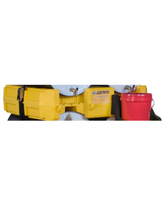 Drum Management Stack Module, dispensing shelf optional, forklift channels, recycled polyethylene, Yellow - #28668