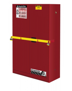 45 Gal Red High Security Flammables Safety Cabinet with Steel Bar, 2 Manual Close Doors- #29884R