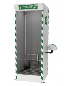 Hughes Emergency Cubicle Shower, Multi-Nozzle Body Wash with Eye and Face Wash, Sump Pump, 120V - #SD31K45G-PUMP