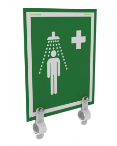 Universal Safety Shower Sign With Brackets, Indoor/Outdoor Showers Without Insulation - #S-BRAC-SIGN-UNH