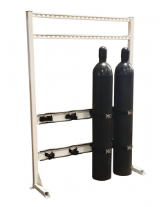 Steel Gas Cylinder Process Stand, 4 Cylinder Capacity, In-Line  - 35310