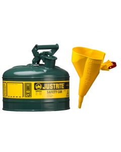 Type I Steel Safety Can for Oil, with Funnel, 1 gallon, Green - #7110410