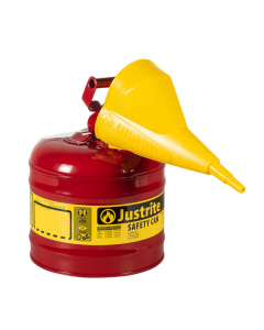 Type I Steel Safety Can for flammables, with Funnel, 2 gallon, Red - #7120110