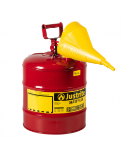 Type I Steel Safety Can for flammables with Funnel, 5 gallon, Red - #7150110
