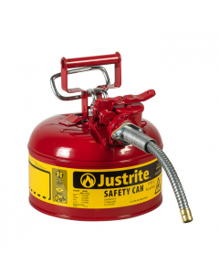 """1 Gallon, 5/8"""" Metal Hose, Steel Safety Can for Flammables, Type II, AccuFlow, Red - 7210120"""
