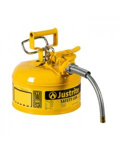 """1 Gallon, 5/8"""" Metal Hose, Steel Safety Can for Diesel, Type II, AccuFlow™, Yellow - 7210220"""
