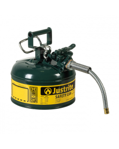 """1 Gallon, 5/8"""" Metal Hose, Steel Safety Can for Oil, Type II, AccuFlow™, Green - 7210420"""