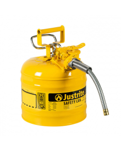 "2 Gallon Yellow Diesel Type II Safety Can, Steel, 5/8"" Metal Hose - AccuFlow™- #7220220"