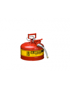 """2.5 Gallon, 5/8"""" Metal Hose, Steel Safety Can for Flammables, Type II, AccuFlow™, Red - 7225120"""