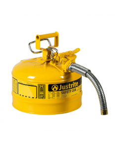"2.5 Gallon Yellow Diesel Type II Safety Can, Steel, 1"" Metal Hose - AccuFlow™- #7225230"