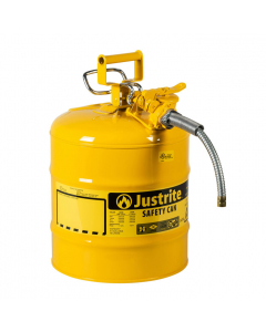 """5 Gallon, 5/8"""" Metal Hose, Steel Safety Can for Diesel, Type II, AccuFlow™, Yellow - 7250220"""