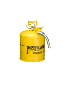 """5 Gallon, 1"""" Metal Hose, Steel Safety Can for Diesel, Type II, AccuFlow™, Yellow - 7250230"""