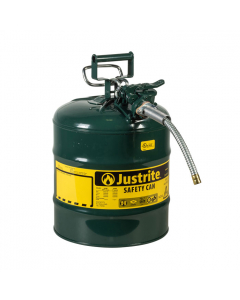 """5 Gallon, 5/8"""" Metal Hose, Steel Safety Can for Oil, Type II, AccuFlow™, Green - 7250420"""