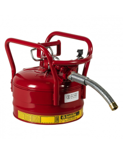 """2.5 Gallon Red D.O.T. Type II Safety Can with Roll Bars, Steel, 1"""" Metal Hose - AccuFlow™- #7325130"""