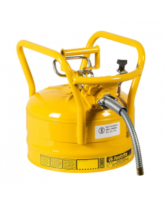 """2.5 Gallon Yellow D.O.T. Type II Safety Can with Roll Bars, Steel, 5/8"""" Metal Hose - AccuFlow™- #7325220"""