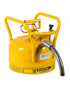 """2.5 Gallon Yellow D.O.T. Type II Safety Can with Roll Bars, Steel, 1"""" Metal Hose - AccuFlow™- #7325230"""