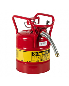"""5 Gallon Red D.O.T. Type II Safety Can with Roll Bars, Steel, 1"""" Metal Hose - AccuFlow™- #7350130"""