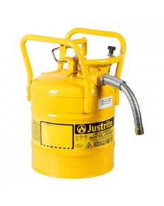 """5 Gallon Yellow D.O.T. Type II Safety Can with Roll Bars, Steel, 1"""" Metal Hose - AccuFlow™- #7350230"""