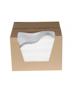 """15"""" x 18"""", Bonded Oil Only Absorbent Pads, Light Weight, Boxed, 200 Count - 83483"""