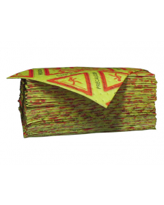"""15"""" x 18"""", Two-Sided HiVis HazMat Absorbent Pads, Laminated, Heavy Weight, Bagged, 100 Count. - 83514"""