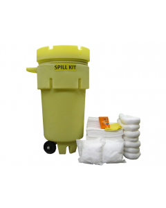 50 Gallon Oil Only Wheeled Spill Kit With Absorbents and Emergency Cleanup Supplies - 83551
