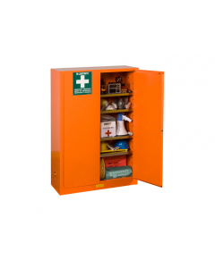 Emergency Preparedness Storage Cabinet for supplies, GloAlert Labels, 4 shelves, 2 keys, Orange - #860001