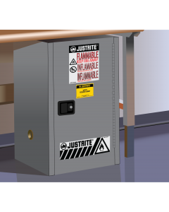 Sure-Grip® EX Compac Flammable Safety Cabinet, 12 gallon, 1 self-close door, Gray - #891223