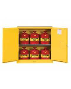 """30 Gal Yellow 44"""" Safety Cabinet with Can Package, 2 Manual Close Doors - Sure-Grip® EX- #8930008"""