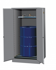 Sure-Grip® EX Vertical Drum Safety Cabinet and Drum Rollers, 55 gallon, 2 manual close doors, Gray - #896263