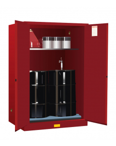 60 Gallon, 2 Drum Vertical, 1 Shelf, 2 Doors, Manual Close, Safety Cabinet With Drum Rollers, Sure-Grip® EX, Red - 899061