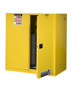 60 Gallon, 2 Drum Vertical, 1 Shelf, 2 Doors, Self Close, Safety Cabinet With Drum Rollers, Sure-Grip® EX, Yellow - 899070
